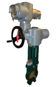 Unidirectional knife gate valve with electric actuator - Art 2904